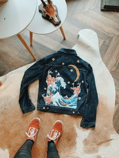Intricately embroidered denim jacket with wave and magnolia flower detailing Embroidered Denim Jacket, Embroidered Clothes, Diy Clothes Embroidery, Denim Jacket Embroidery, Diy Clothing, Custom Clothes, Custom Clothing Design, Modest Clothing, Modest Outfits