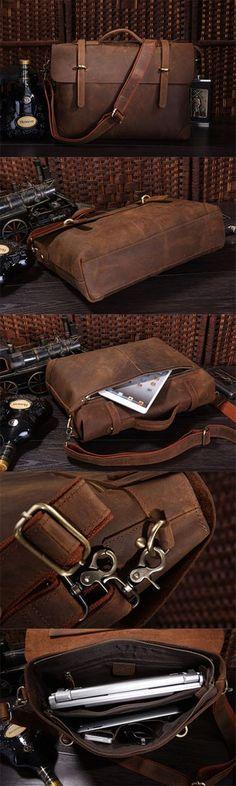 "Image of Men's Leather Briefcase Shoulder Business Laptop Messenger Bags Tote 13"" 15"" MACBOOK BAG R782"