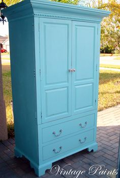 Aqua Armoire for a baby's nursery!  Upcycled TV armoire, distressed and painted.  #vintage #upcycle