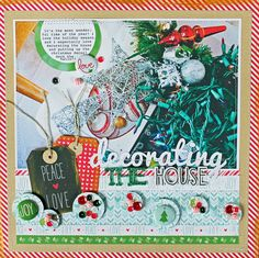 """Lawn Fawn - Peace Joy Love 12x12 papers, flair and mixed sequins _ beautiful """"Decorating the House"""" Layout by Melissa M for Lawn Fawn Design Team"""