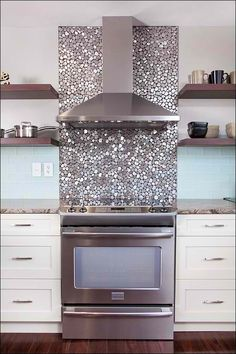 Metallic Pebbled Kitchen Backsplash #HomeOwnerBuff