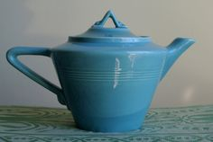 Art Deco Art Pottery Vintage 1930s Turquoise Blue by Astarix, $110.00