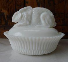 Vintage Milk Glass Rabbit on a Nest Basket Rare by MrFilthyRotten, $38.00