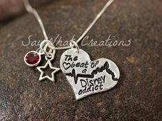 The heartbeat of a Disney addict - Hand stamped Sterling and Fine Silver necklace by SayWhatCreations, $46.50