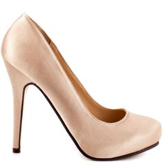 Feel the love in these perfect everyday pumps from Michael Antonio. Love Me is a champagne satin covered round toe 4 1/2 inch heel; this style is completed with a 1/2 inch hidden platform. Grab a pair of these work or play heels before they're gone!