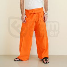 Thailand Wrap Fisherman Pants - Fabric: Thai Pants are made of 100% Cotton, Waist Style: Fold over, Wrap Around Around the waist max: 54 (136cm) Outer Leg: 40 (100cm) Inner Crotch: 22 (56cm) Fisherman Pants Fit for Size: S-M-L-XL
