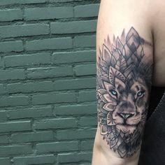 beautiful lion mandala tattoo