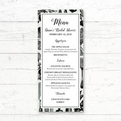 Kitchen Printable Menu Card Wedding Bridal Shower Baby Shower Menu by CrissyDesignCo Bridal Bingo, Bridal Shower Games, Baby Shower Menu, Printable Menu, Chic Bridal Showers, Wedding Menu Cards, Vintage Library, French Chic, Country Chic