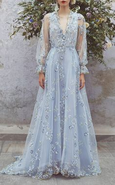 Tulle floral embroidered gown by Luisa Beccaria