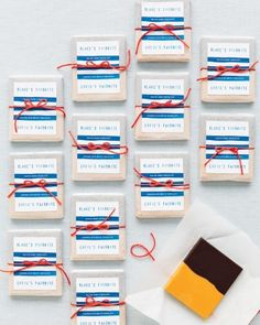 Custom chocolate bar wedding favors from Chocolate Editions, topped with a personalized label / Martha Stewart Weddings Chocolate Wedding Favors, Candy Wedding Favors, Elegant Wedding Favors, Unique Wedding Favors, Party Favours, Diy Wedding, Wedding Reception, Wedding Ideas, Custom Chocolate