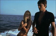 Brigitte Bardot with Alain Delon in Saint-Tropez, 1968.