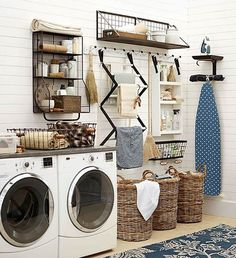 Organized Laundry Room in Farmhouse