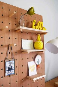 Adding a giant pegboard, which you can lean against a wall, allows you to organize items in an efficient and attractive way. Get the tutorial at Little House on the Corner.