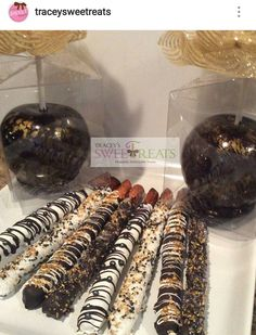 Black and Gold Candy Apples and Pretzels