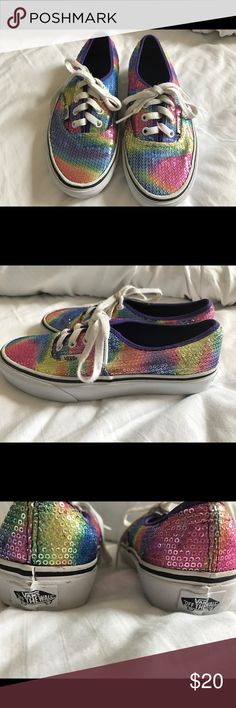 598c0fabc Vans rainbow Sequin Shiny Bling skate shoes Great condition. Soles are in  great shape-