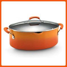 Rachael Ray Porcelain Enamel II Nonstick 8-Quart Covered Oval Pasta Pot with Pour Spout, Orange Gradient - Kitchen gadgets (*Amazon Partner-Link)