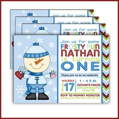 Snowman Birthday Invitations Winter  Christmas by LullabyLoo, $18.00