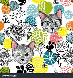 Smart cats and colorful abstract shapes. Seamless pattern of animals and design elements. Vector endless illustration.