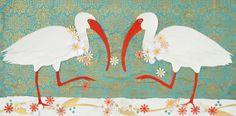 Two Ibises in Conversation by Deborah Mores Art