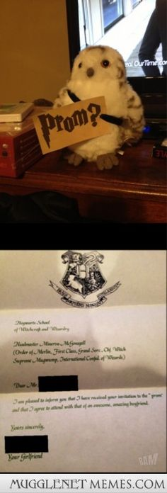 How I asked my friend to prom and she accepted in a very Harry Potter-esque way…. How I asked my friend to prom and she accepted in a very Harry Potter-esque way. – – Harry Potter Memes and Funny Pics – MuggleNet Memes Dance Proposal, Homecoming Proposal, Proposal Ideas, Prom Pictures, Funny Pictures, Funny Pics, Prom Invites, Invitations, Planning School