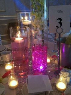 cylindar vases with colored water pearls - Google Search