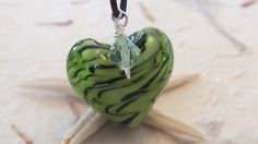 FOR SALE Green and Black Swirl Necklace Glass by APinchOfParadise, $17.00