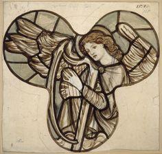 Design for stained glass in Lyndhurst Church: An Angel Harpist, Edward Coley Burne-Jones, Sir
