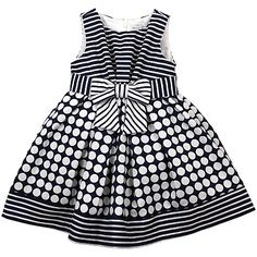 Mayoral Dots Navy Striped Girls Dress