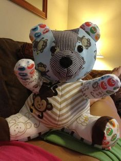 Teddy bear made from old baby clothes, FREE pattern included. Teddy bear pattern, keepsake bear #babyclothespatterns