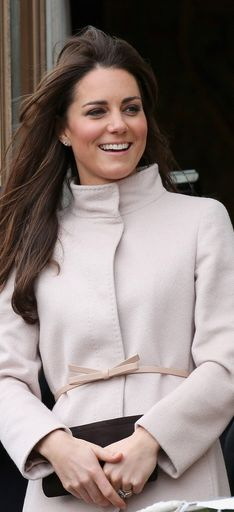 Kate Middleton: Coat – Max Mara    Shoes – Aquatalia by Marvin K    Ring – Garrards