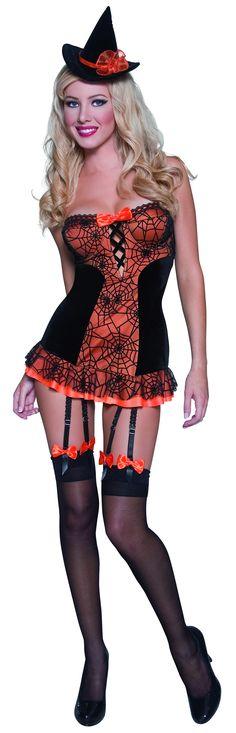 Disfraz de bruja sexy color naranja y negro, ideal para Halloween: Este disfraz de bruja sexy para mujer ideal para Halloween, color naranja y negro, se compone de un vestido y un sombrero. El vestido tiene un toque sensual con sus ligas, su imponente escote...