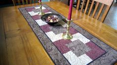 Table Runner with Overlapping Squares Pattern by QuiltedbyTommyD, $55.00
