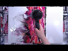 Pink & Black Diptych Acrylic Hair Dryer Pour - All About Hairstyles Acrylic Paint Set, Acrylic Painting For Beginners, Acrylic Painting Canvas, Acrylic Art, Acrylic Pouring Techniques, Acrylic Pouring Art, Flow Arts, Pour Painting, Art Techniques