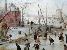 Budapest  Hendrick Avercamp (1585-1634) - Frozen river with skaters, 1620s : detail
