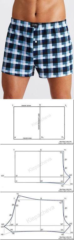 Cómo coser boxeador de los hombres. patrón de la construcción
