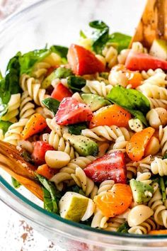 This Strawberry Avocado Pasta Salad will be your new favorite, most requested pasta salad! It's like your favorite Strawberry Spinach Salad but 1000X better and the Poppy Seed Dressing with lemon zest is to live for! Strawberry Avocado Salad, Avocado Spinach Salad, Pasta Salad With Spinach, Avocado Pasta, Pasta Salad Italian, Pasta Salad Recipes, Soup And Salad, Spinach Salads, Recipe Pasta