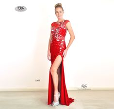Enchanted Sparkle S/less Formal Gown in Red Style 5008 by Miracle Agency Designer Formal Dresses, Designer Gowns, Formal Evening Dresses, Formal Gowns, Formal Wear, Bridal And Formal, Red Style, Red Fashion, Enchanted