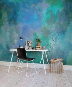 Wand in Meeresfarben, türkis blau