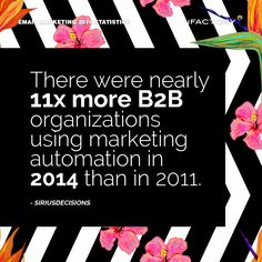 There were nearly 11x more B2B organizations using marketing automation in 2014 than in 2011. #ifactory #ifactorydigital  #emailmarketing #digitalmarketing #digital #edm #marketing #statistics  #email #emails