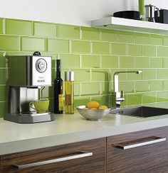 Why, yes, I will install you as my backsplash Mr. Lime Green Metro Glass Wall Tile. I already have a sample like you. LOVE.