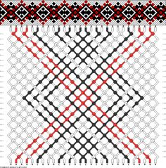 Friendship bracelet pattern - 28 strings, 3 colors - diamonds, squares