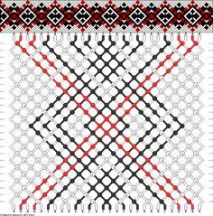 Friendship bracelet pattern - 28 strings, 3 colors - diamonds, squares