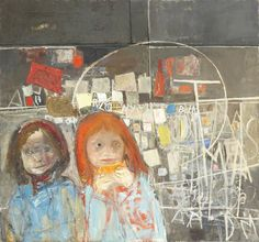 Joan Eardley - Children and Chalked Wall No.2