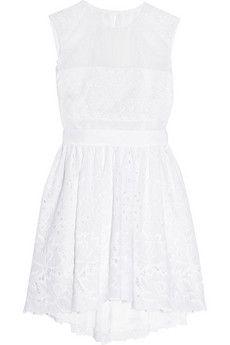 Alberta Ferretti Silk-organza and broderie anglaise cotton dress | NET-A-PORTER