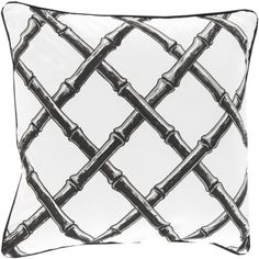 20' Charcoal Black and Snow White Bamboo Lattice Decorative Throw Pillow-Down Filler >>> Read more reviews of the product by visiting the link on the image. (This is an affiliate link) #HomeDecorInspiration