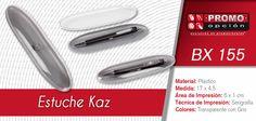 El artículo del día es el BX 155 estuche kaz (NO INCLUYE BOLÍGRAFO.) Conoce más de él en www.promoopcion.com Material: Plástico Medida: 17 x 4.5 cm Área de impresión: 6 x 1 cm Técnica de impresión recomendada: Serigrafía Color:Transparente con gris  CONSULTA EXISTENCIAS Y PRECIOS CON TU EJECUTIVA DE CUENTA.