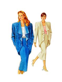 New Look 8285, Sewing Pattern, Women Suit, Drape Front Jacket, Loose Fit, Straight Skirt, Pencil Skirt, Size 8-10-12-14-16-18, UNCUT by FindCraftyPatterns on Etsy