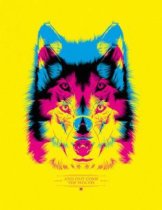 We love this wolf layering CMYK! This would make a really cool poster, don't you… Graphic Design Posters, Graphic Design Inspiration, Graphic Art, Design Graphique, Art Graphique, Arte Pop, Expo, Poster Prints, Art Prints
