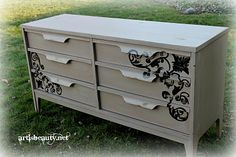 """www.artisbeauty.net"" hand painted Roadside rescue dresser furniture  Vintage Scroll work @Patrise Taylor-harris"