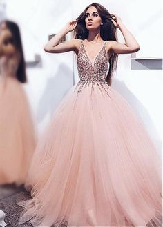 Hot Sale Light Prom Dresses Pink Luxurious Beads V Neck Pink Long Prom Dress Prom Dress Long, V-Neck Prom Dress, Pink Prom Dress, Prom Dress, V-neck Prom Dress Prom Dresses Long Blush Pink Prom Dresses, Princess Prom Dresses, V Neck Prom Dresses, Beaded Prom Dress, Cheap Prom Dresses, Pink Tulle, Dress Prom, Maxi Dresses, Pastel Prom Dress